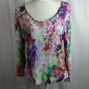 Escada floral print knit long sleeve top XL